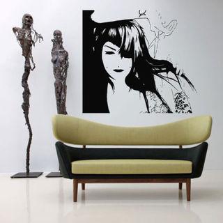 Custom Hour Frame For Hair Salon Decor Fashion Wall Art Sticker Decal size 33x39 Color Black