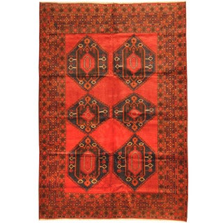 Herat Oriental Afghan Hand-knotted Tribal Balouchi Wool Rug (6'10 x 9'9)