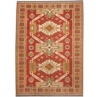 Herat Oriental Afghan Hand-woven Vegetable Dye Wool Soumak Kilim (5'10 X 8')