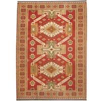 Handmade Herat Oriental Afghan Vegetable Dye Wool Soumak Kilim (Afghanistan) - 5'10 x 8'
