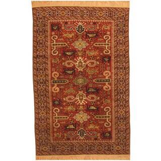 Herat Oriental Afghan Hand-knotted Tribal Kazak Wool Rug (4'10 X 7'8)