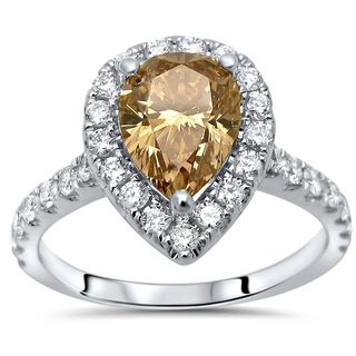 Noori 14k White Gold 1 9/10ct TDW Certified Brown Diamond Engagement Ring (G-H, SI1-SI2)