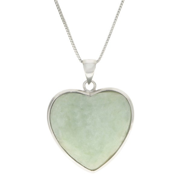 Gems for you 18 sterling silver jade heart pendant free gems for you 18 sterling silver jade heart pendant mozeypictures Choice Image