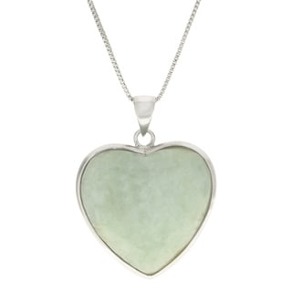 """Gems For You 18"""" Sterling Silver Jade Heart Pendant"""