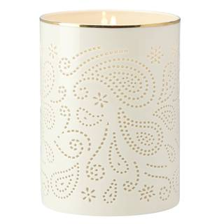 Lenox Ivory Pierced Paisley Porcelain Hurricane Candle Holder