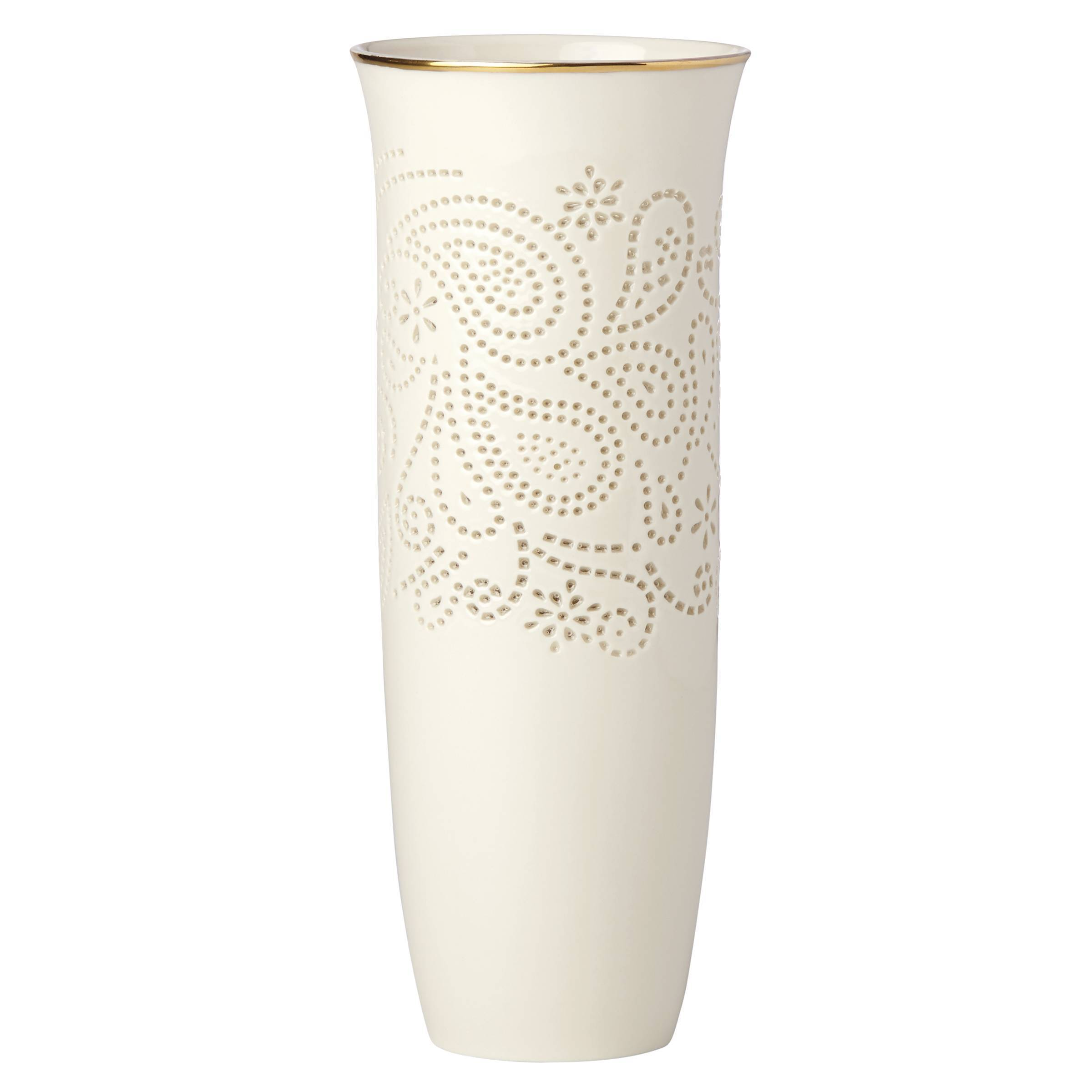 Lenox vases with gold trim compare prices at nextag lenox pierced paisley petite 9 inch vase paisley gold floridaeventfo Choice Image