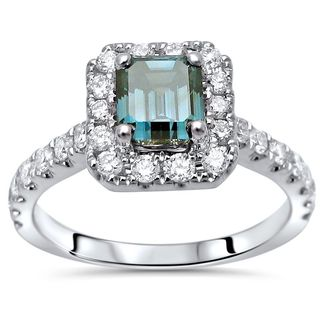 Noori 14k White Gold 1 2/5 ct Blue Emerald Cut Diamond Engagement Ring