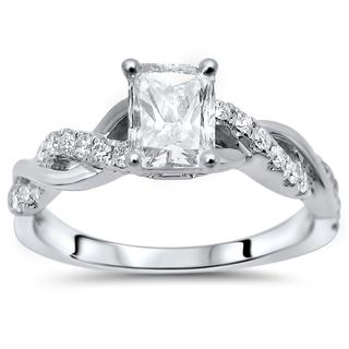 Noori 14k White Gold 7/8ct TDW Radiant Cut Enhanced Diamond Engagement Ring (G-H, SI1-SI2)