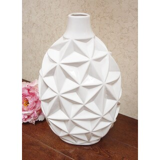 D'Lusso Designs Nadia Collection White Ceramic 14-inch Vase