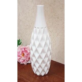 D'Lusso Designs Nadia 16-Inch White Ceramic Textured Amphora Vase