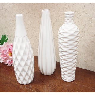 D'Lusso Designs Nadia Collection White Ceramic 3-piece Vase Set