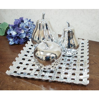 D'Lusso Designs Bella Collection Silver Ceramic Fruit Set