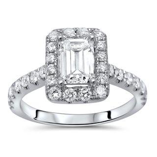 Noori 14k White Gold 1 1/4 ct TDW Emerald Cut Enhanced Diamond Engagement Ring