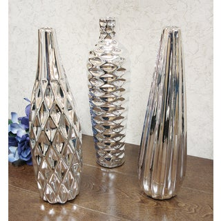 D'Lusso Designs Bella Collection Silver Ceramic Vase (Pack of 3)