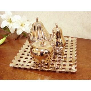 D'Lusso Designs Concordia Golden Ceramic Fruit Tray Set
