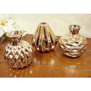 D'Lusso Designs Concordia Collection Gold Ceramic Small Vase Set (Pack of 3)