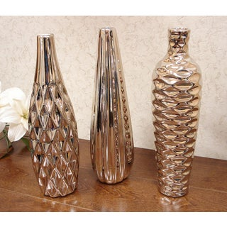 D'Lusso Designs Concordia Collection Gold Ceramic Amphora Vase 3-piece Set