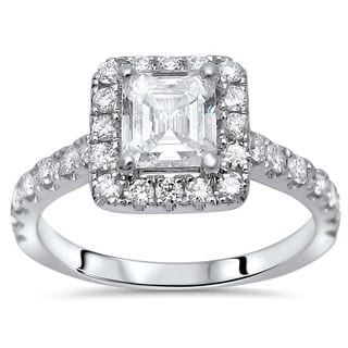 Noori 14k White Gold 1 1/4ct TDW Asscher Cut Enhanced Diamond Engagement Ring