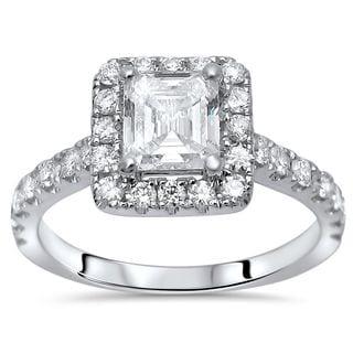 Noori 14k White Gold 1 1/4ct TDW Asscher Cut Enhanced Diamond Engagement Ring