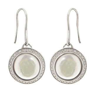 Pearls For You Sterling Silver White Coin Pearl and Diamond Dangle Earrings
