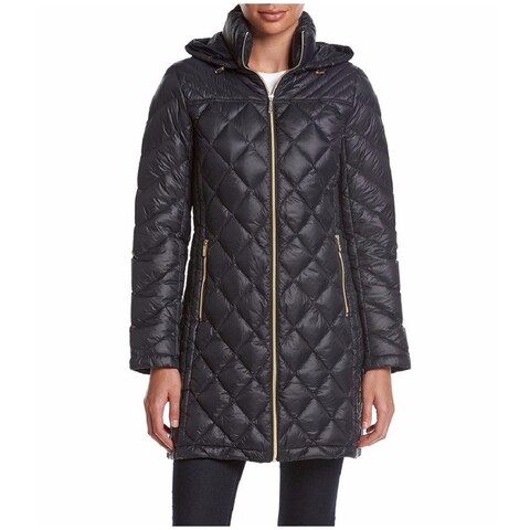 Michael Kors Women's Navy Nylon and Down Diamond-quilted 3/4 Packable Coat