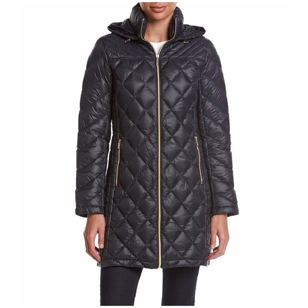 Michael Kors Womens Navy Nylon And Down Diamond Quilted 34