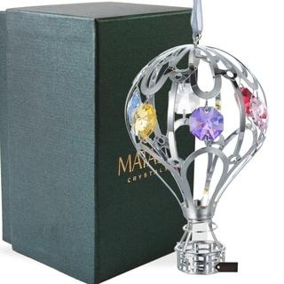 Matashi Silver Plated Crystal Studded Mini Hot Air Balloon Ornament