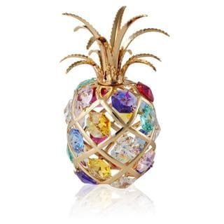 Matashi 24k Gold-plated Iron and Multicolored Crystals Pineapple Figurine
