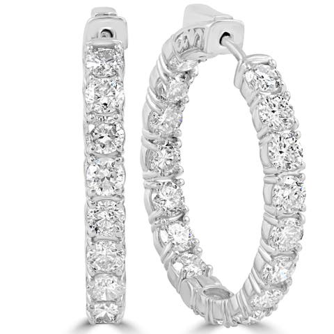 14k White Gold 6.13 ct TDW Diamond Inside Outside Hoops