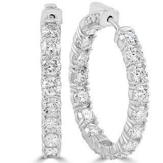 14k White Gold 6.13 ct TDW Diamond Inside Outside Hoops (F-G,SI1-SI2)