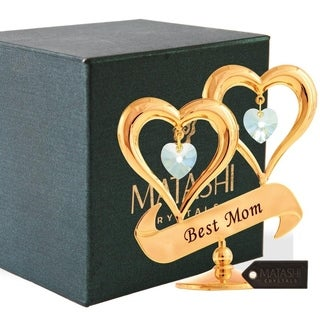 24K Gold Plated Crystal Double Heart with Best Mom Banner Ornament by Matashi