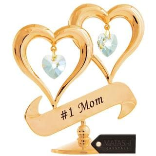 Matashi 24k Gold-plated Crystal Studded Double Heart #1 Mom Banner Ornament