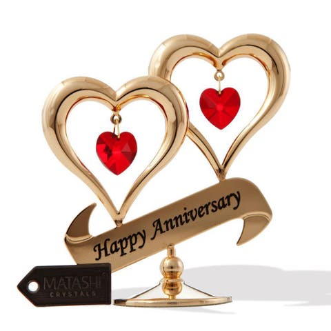 Matashi Gold plated Red Crystal Happy Anniversary Double Heart Tabletop Ornament