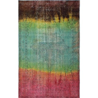 ecarpetgallery Hand-Knotted Color Transition Brown, Green, Red Wool Rug (5'11 x 9'6)