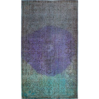 ecarpetgallery Hand-Knotted Color Transition Blue, Grey, Purple Wool Rug (5'3 x 9'4)