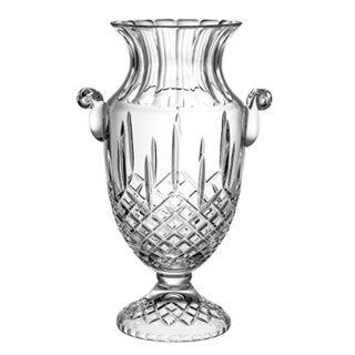 Majestic Gifts Hand Cut Crystal Footed Vase With Handles, 16 Inches High