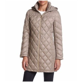 Michael Kors Taupe Nylon/Wool Diamond Quilted 3/4 Packable Coat