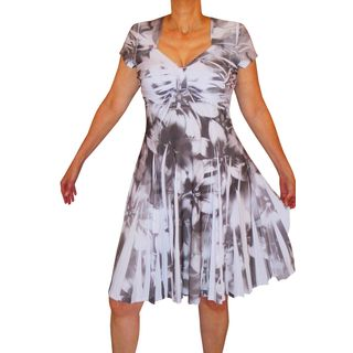 Funfash Women's Heather Grey/White Plus-size Slimming Cocktail Dress