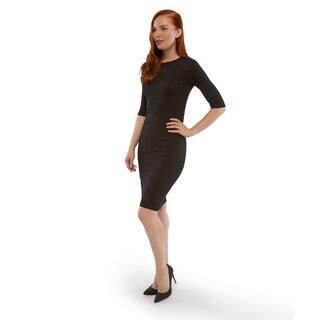 Sentimental NY Women's Black Jersey Knit Cold-Shoulder Sheath Dress