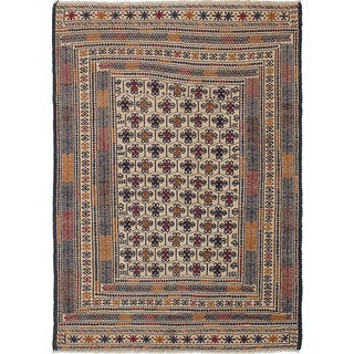 ecarpetgallery Hand-Woven Shiravan Sumak Blue, Ivory Wool Sumak (4'5 x 6'2)