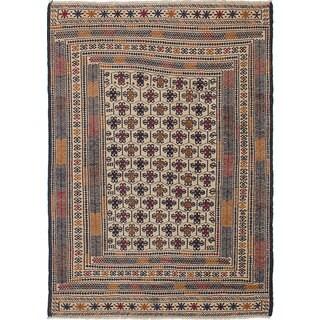 ecarpetgallery Hand-Woven Shiravan Sumak Blue, Ivory Wool Sumak (4'5 x 6'2) - 4'5 x 6'2