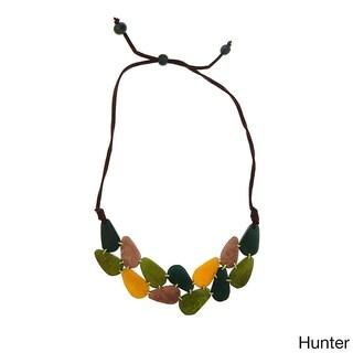 Handmade Cumbaya Seeds and Faux Leather Statement Bib Necklace (Ecuador)