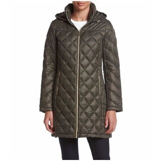 Michael Kors Olive Diamond-quilted 3/4 Packable Jacket