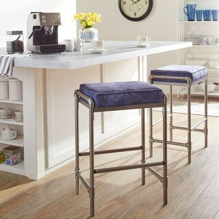 Industrial Blooms Pipe Luxe Blue Barstool