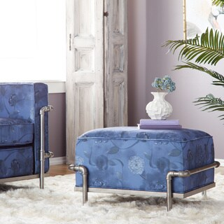 Industrial Blooms Pipe Ottoman Luxe Blue