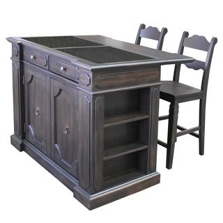 Gracewood Hollow London Granite Top Kitchen Island with 2 Stools