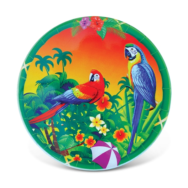Puzzled Tropical Parrots Nautical Ceramic Coaster