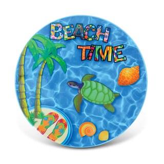 Puzzled Beach Time Multicolor Ceramic Nautical Coaster