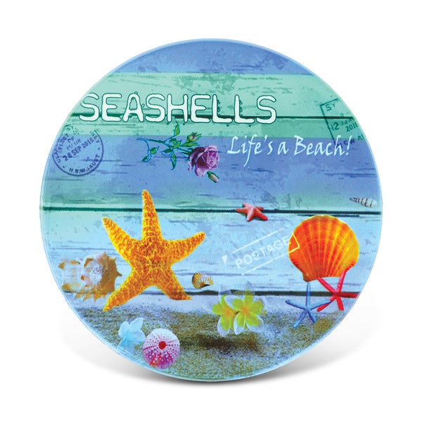 Puzzled Seashells Nautical Ceramic Coaster