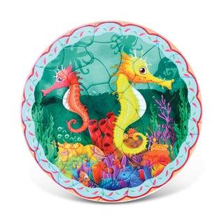 Puzzled Seahorses Multicolor Ceramic Nautical Coaster